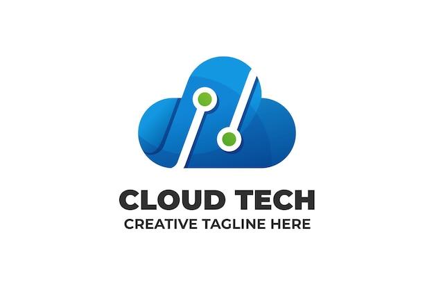 Logo für digitales speichern der cloud-technologie