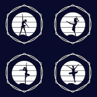 Logo für ein ballett- oder tanzstudio vektorillustration