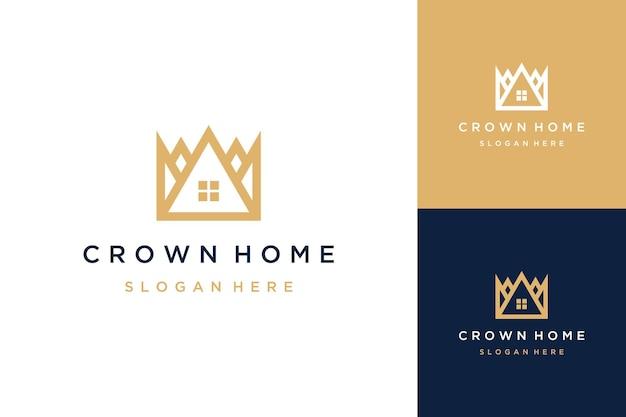 Logo-gehäusedesign oder krone mit einem haus