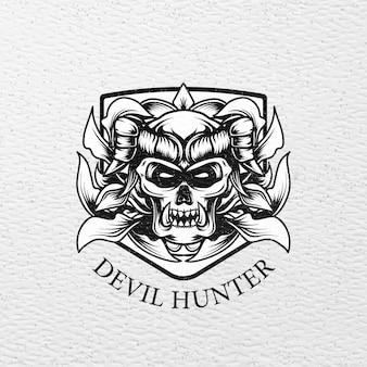 Logo gehörnt schädel teufel jäger