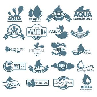 Logo gesetzt. etikett für mineralwasser. aqua icons sammlung. vektor