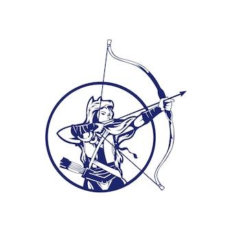 Logo-grafikzusammenfassung der jagdbogenschießenweinlese