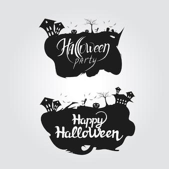Logo halloween-party und happy halloween