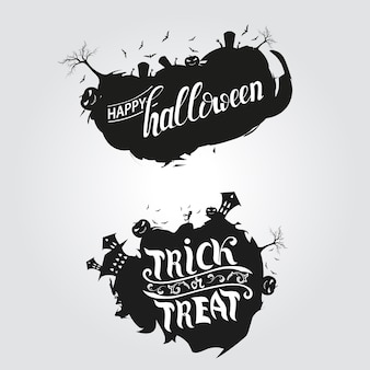 Logo happy halloween und süßes oder saures