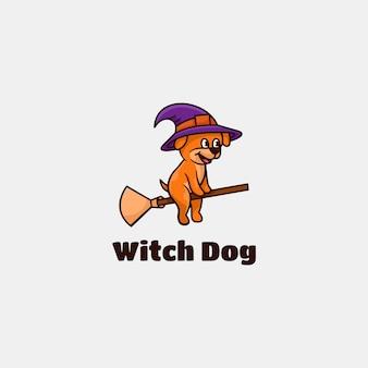Logo hexenhund einfacher maskottchen-stil.