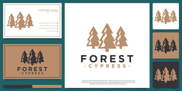 Logo hipster minimalistischer kiefernwald