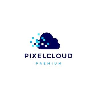 Logo-ikonenillustration der pixelwolke digitale