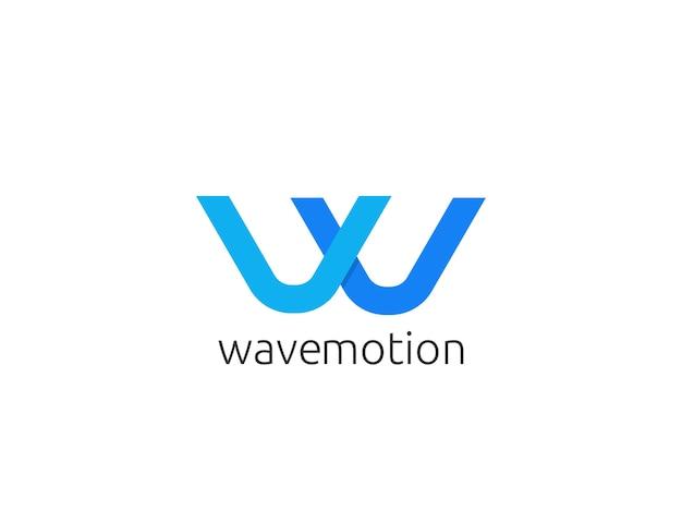 Logo-ikonenschablone des abstrakten buchstaben w