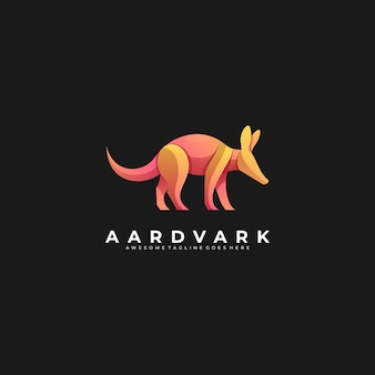 Logo illustration aardvark walking gradient bunt