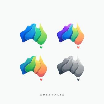 Logo illustration abstract australia mit getrenntem buntem stil der gestapelten gegenstände