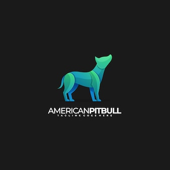 Logo illustration amerikanischer pitbull-farbverlauf bunt
