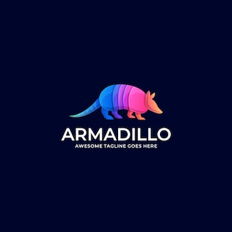 Logo illustration armadillo walking gradient bunt