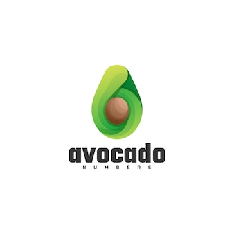 Logo illustration avocado farbverlauf bunter stil.