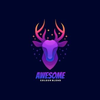 Logo illustration awesome deer gradient bunter stil.