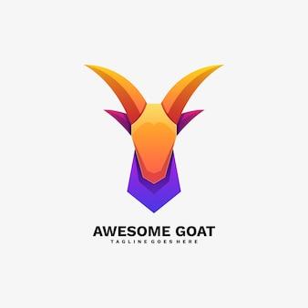 Logo illustration awesome goat gradient bunter stil.