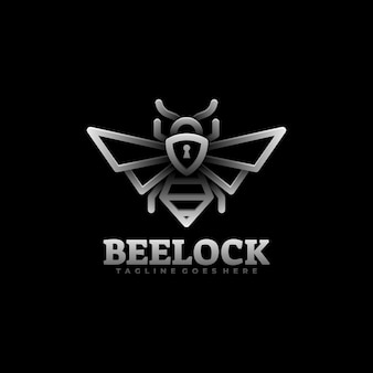 Logo-illustration bee lock gradient line art style.