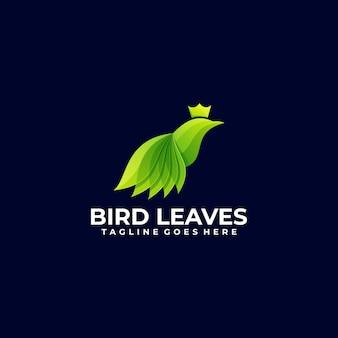 Logo illustration bird leaves farbverlauf bunter stil.