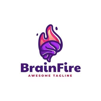 Logo illustration brain fire einfacher maskottchen-stil
