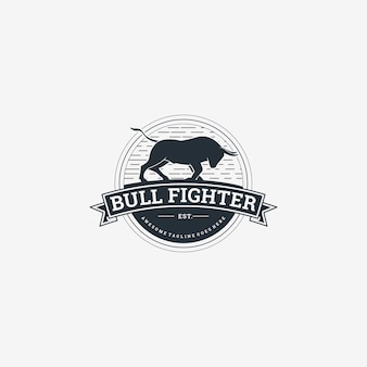 Logo illustration bull vintage abzeichen stil.