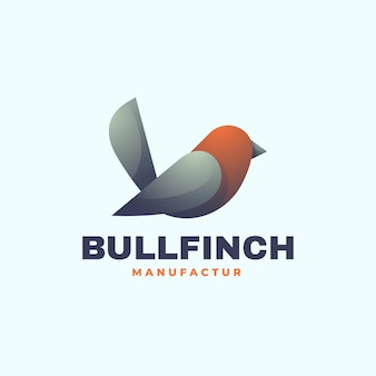 Logo illustration bullfinch gradient bunter stil.
