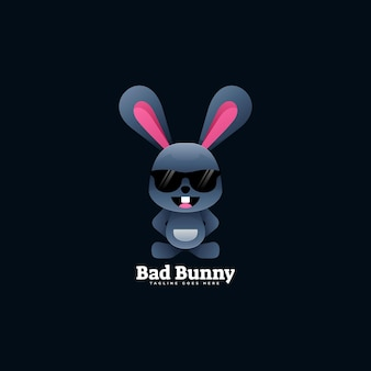 Logo illustration bunny gradient bunter stil.