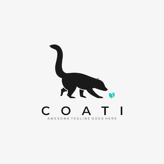 Logo illustration can-coon walking silhouette