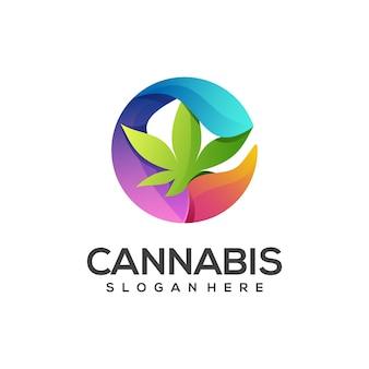 Logo-illustration cannabis mit flüssigem spritzer bunt