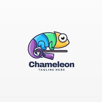 Logo illustration chamäleon einfacher maskottchen-stil.