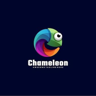 Logo illustration chamäleon farbverlauf bunter stil.