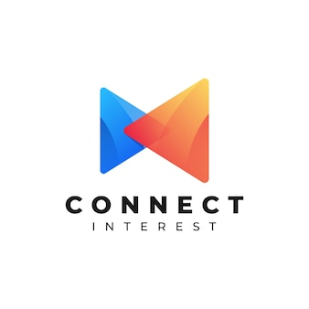 Logo illustration connect gradient colourful style.