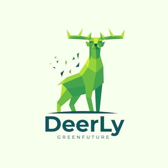 Logo illustration deer low poly style.