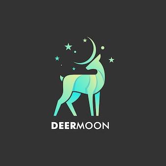 Logo illustration deer moon farbverlauf bunter stil.