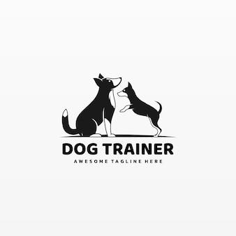 Logo illustration dog trainer einfacher maskottchen-stil.