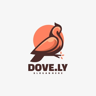 Logo illustration dove simple mascot style.