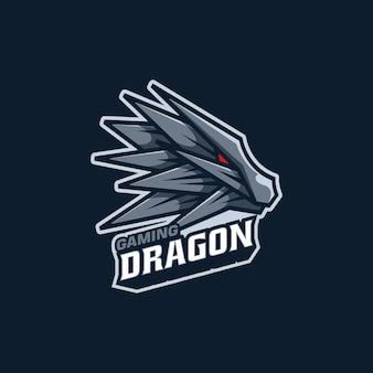 Logo illustration dragon maskottchen cartoon style.