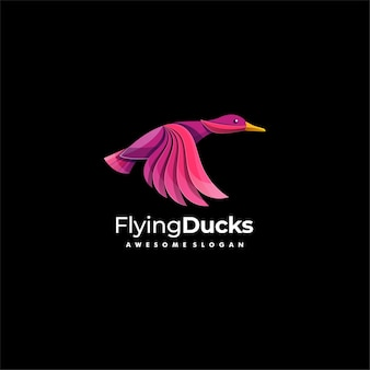 Logo illustration duck flying gradient bunter stil.