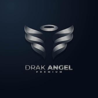 Logo illustration dunkler engel farbverlauf bunter stil.