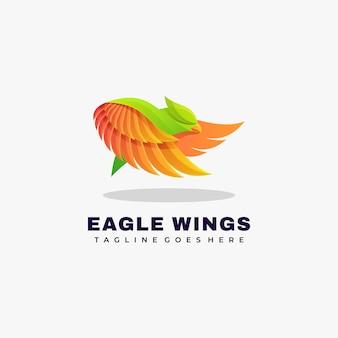 Logo illustration eagle wings farbverlauf bunter stil.