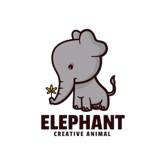 Logo illustration elefant maskottchen cartoon style