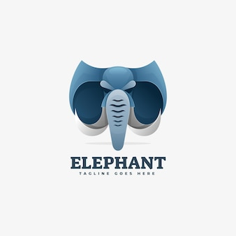 Logo illustration elephant gradient bunter stil.