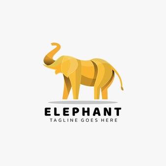 Logo illustration elephant gradient bunter stil.