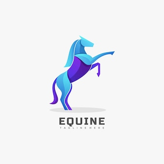 Logo illustration equine gradient bunter stil.