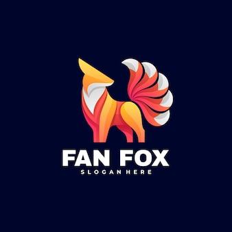 Logo illustration fan fox farbverlauf bunter stil.