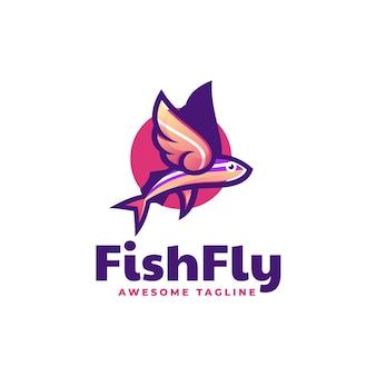 Logo illustration fische fliegen im einfachen maskottchen-stil