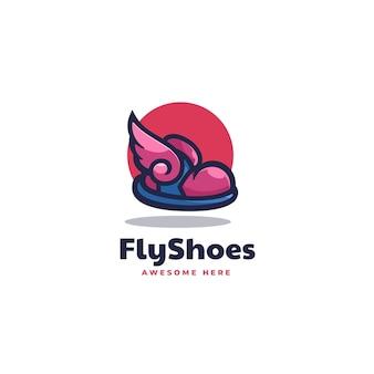 Logo illustration fliegenschuhe im einfachen maskottchen-stil