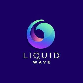 Logo illustration flüssiger farbverlauf bunter stil.