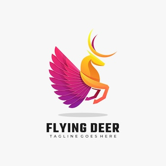 Logo illustration flying deer gradient bunter stil.