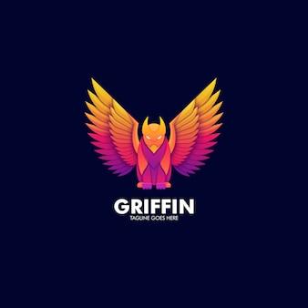 Logo illustration flying griffin mythologie farbverlauf bunt