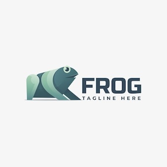 Logo illustration frosch farbverlauf bunter stil.