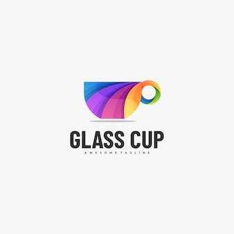 Logo illustration glass cup farbverlauf bunter stil.